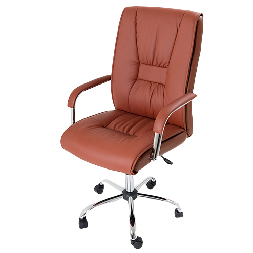 Poltrona presidenziale in ecopelle marrone sedia girevole for Poltrona studio