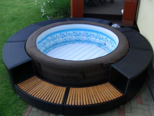 Idromassaggio spa piscina gonfiabile rivestita rattan - Piscina spa gonfiabile ...