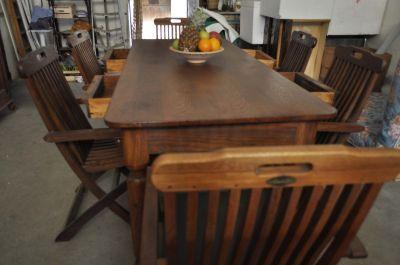 Tavolo antico 800 39 di pregio in rovere 6 sedie pieghevoli - Tavolo matto porto potenza ...