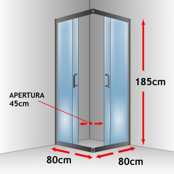 Box doccia bagno 80 x 80 altezza 185 cm vetro trasparente - Altezza box doccia ...